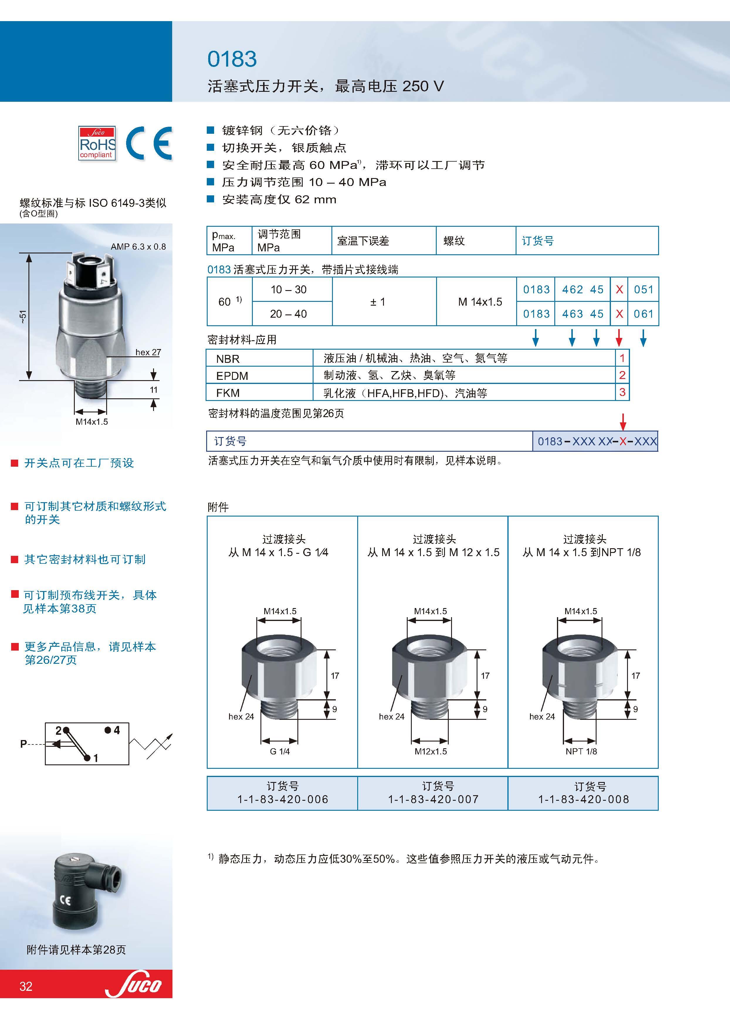 suco压力传感器0183系列,活塞式
